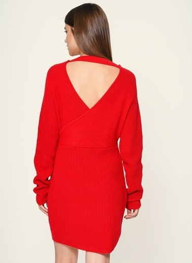 Loves You Ön Arka V Dizüstü Triko Elbise Kırmızı